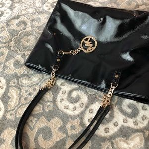 Michael Kors Patent Leather Bag with Gold Hardware